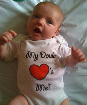 Baby wearing loves doula top